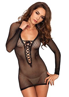 NET LACE UP MINI DRESS BLACK