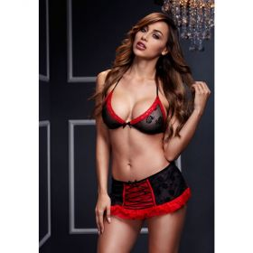 BRA TOP W/ BLACK RED LACE UP GARTERSKIRT